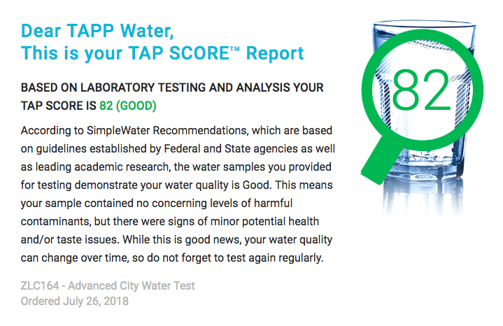SimpleWater Independent Lab test TAPP 2 before filtering