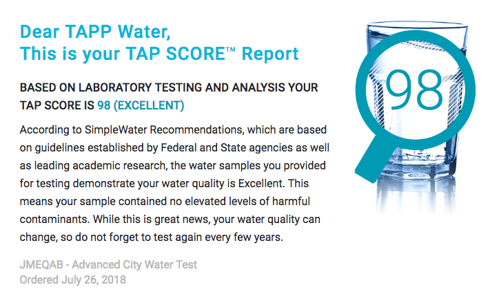 Simplewater Independent Lab test TAPP 2 after filtering